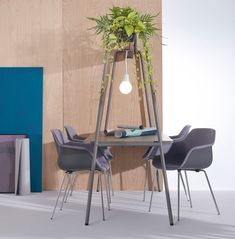 """The ""A"" frame offers more than beautiful lines; humans naturally lower their voices when conversing with something overhead. Dining Area, Dining Chairs, Beautiful Lines, Clever Design, Built Environment, Seat Pads, A Table, Interior, Furniture"