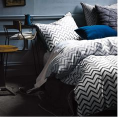At Aura, we design a sophisticated collection of luxury bedding. From designer bed linen to throws, shop online now to create a perfect bedroom retreat. Home Design Diy, Chevron Bedding, Linen Bedding, Bed Linens, Bedding Sets, Geometric Bedding, Bedroom Color Schemes, Bedroom Colors, Design Inspiration