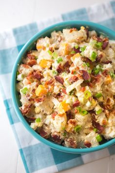 This loaded potato salad recipe is not your average potato salad! Ranch dressing, cheddar and bacon make this potato salad amazing! Loaded Potato Salad, Bacon Ranch Potato Salad, Potato Salad With Apples, Potato Salad Dill, Potato Salad Dressing, Bacon Ranch Potatoes, Potato Salad Mustard, Loaded Cauliflower Casserole, Best Broccoli Salad Recipe