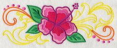 Free Embroidery Design: Brilliant Hibiscus Border - I Sew Free
