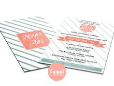Kreatív zöld és korall színű vintage esküvői meghívó | Wedding invitation card with green and coral colors