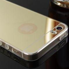 Silikonový zrcadlový obal pro Apple iPhone 5, 5S, SE - zlatý   Student-eshop.cz
