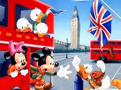 Walt Disney Characters Wallpaper: Walt Disney Wallpapers - The Gang in London, UK Mickey Mouse Donald Duck, Mickey Mouse And Friends, Disney Mickey Mouse, Baby Mickey, Famous Cartoons, Disney Cartoons, Classic Cartoons, Happy Family Photos, Minnie Mouse Pictures