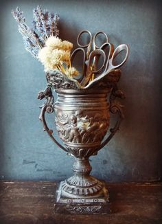 Cast Iron urn French style. Flower vase. From theravenandrose on etsy