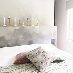 "When the evening comes... To light up those candels.. We sure want to sleep here! The foggy wallpaper is ""Hazy illusions"" All beautifully styled by""@tittimadii #mrperswall #bedroomwallpaper #wallpaper #bedroominspiration"