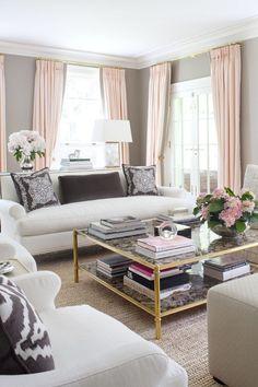 Beautiful pink & grey decor.