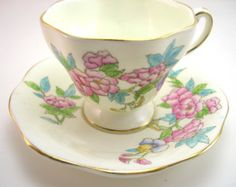 Pink Paragon Tea cup And Saucer Hot Pink with by AntiqueAndCrafts