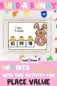 Students build a bunny by reading quantities in tens and ones and selecting the correct numeral. Practice place value within 40 with these interactive BOOM Digital Task Cards. Use this resource for 1st grade math stations, independent practice, and distance learning.