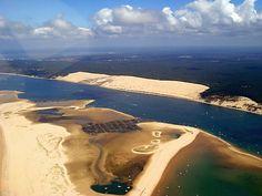Vue aérienne Bassin d'Arcachon- Dune du Pilat Aquitaine, Le Pilates, Cap Ferret, Bordeaux, Sky, Explore, Amazing, Beach, Water