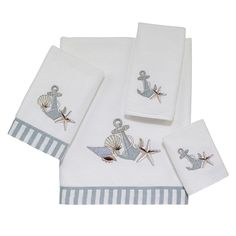 Create a relaxed, coastal retreat in your bathroom with the Avanti Anchor & Shells Bath Towel Collection. Detailed with embroidered appliques in soft sea foam and beige hues, these white towels are crafted of cotton velour for a luxuriously soft hand. Tropical Bathroom, Nautical Bathrooms, Bath Towel Sets, Bath Towels, Guest Towels, Tea Towels, Nautical Bedding, Fingertip Towels, Embroidered Towels