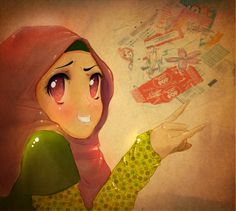 a present for ma friend Proud to be a muslim. Woman Drawing, Drawing S, Hijab Drawing, Islamic Cartoon, Hijabi Girl, Cute Cartoon, Peace And Love, Beautiful Pictures, Animation