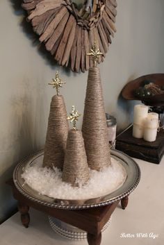Twine Christmas trees www.somuchbetterwithage.com #christmas #diyprojects #twine