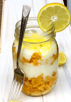Sunny Lemon Cake in a Jar ~citrusy goodness...  portable enough to join you on your picnics and at neighborhood potlucks