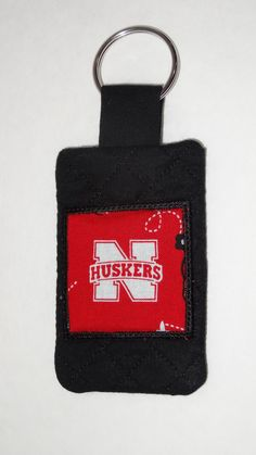 Nebraska Cornhuskers University of Nebraska Huskers Quilted Keychain with Pocket by BrunosBling on Etsy