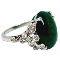Birk's Emerald Cabochon & Diamond Platinum Ring #jewelry