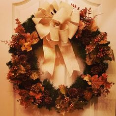 Check out this item in my Etsy shop https://www.etsy.com/listing/207679466/thanksgiving-wreath-christmas-wreath