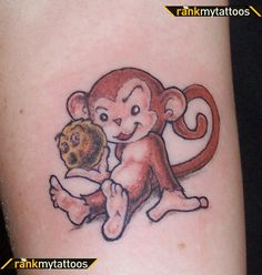 Monkey Tattoo Designs | Cheeky monkey Animal Tattoo.. take this monkey and have it holding a Buttercup Flower in yellow for my niece and nephew.