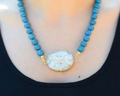 Turquoise Necklace  White Druzy Edged Gold Focal Pendant