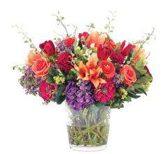 "Natural Decorations, Inc. - Tulip Rose Hydrangea Orange Red Purple | Glass Bowl, 25""x24"",$1048"