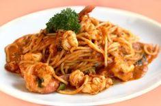 Αστακός με σάλτσα Prawn, Pasta Recipes, Spaghetti, Food Porn, Meat, Chicken, Ethnic Recipes, Noodle, Buffalo Chicken