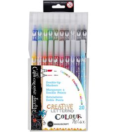 DuoTip Pens with vibrant colours for handlettering. Both fineliner and chisel tip for creative lettering writing and colouring. Complete with a handy storage wallet. Fineliner - Chisel tip - Great for creating beautiful thick and thin lines. School Supplies, Craft Supplies, Relax, Beautiful Calligraphy, Creative Lettering, Marker Pen, Markers, Stationery, Writing