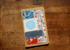 Scrappy fabric journal lined blues and reds flower by jessnielsen