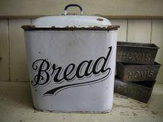 Vintage Enamel Bread Bin - Victorian Enamel Bread Box - White Enamel Bread Bin - English Enamel Bread Box - White Bread Bin - Bread Box by VintiqueTree on Etsy