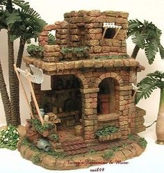 Introduced in 1996 - Nativity Village. This is One of Fontanini's Nativity Accessories from Roman Inc Made to Enhance and Add to the Realism of Any Nativity Display. Fontanini Nativity, Diy Nativity, Christmas Nativity Scene, Christmas Villages, Modelos 3d, Christmas Decorations, Christmas Ornaments, Clay Miniatures, Miniature Houses