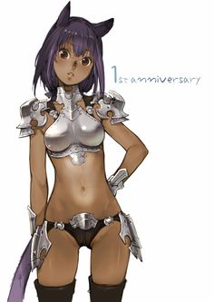 1girl animal_ears armor branch_(blackrabbits) breasts brown_eyes cameltoe cat_ears cat_tail dark_skin final_fantasy final_fantasy_xiv long_hair looking_at_viewer medium_breasts miqo'te open_mouth purple_hair simple_background solo tail thighhighs white_background