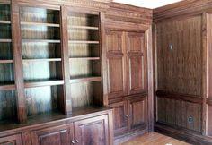 Beautiful bespoke custom handmade library book shelves, doors and wall panelling