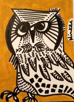 ACEO abstract OWL Original art painting ink folk Picasso like illustration mod