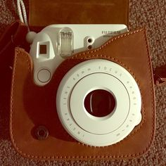 Polaroid camera w/ case White polaroid camera (instax mini 8) with brown leather case [barely used] Fujifilm Other