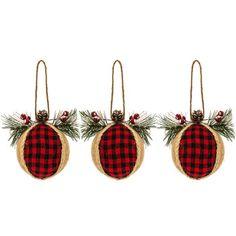 Burlap & Plaid Ball Ornaments
