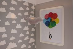 real life rooms, grey and white neon and bright bedroom, children's wallpaper, cloud wallpaper, children's lighting, ceramic bird light, children's wall art, penguin wall art, mr penguin balloons print, published by Bobby Rabbit