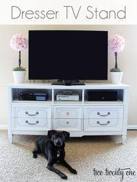 Dresser TV Stand small apartment ideas Swivel Tv Stand, Tv Furniture, Painted Furniture, Hidden Kitchen, Big Screen Tv, Diy Tv Stand, Gold Diy, Thrifting, Kitchen Organization