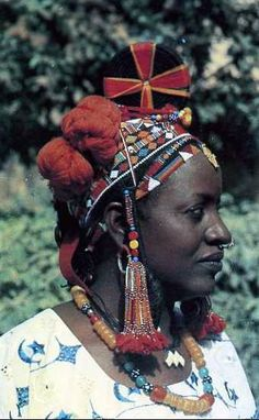 Africa | A Songhai (aka. Songhay, or Sonrai) woman, wearing a traditional headdress; worn by married women on special occasions. The Songhai are found in both Gao and Timbuktu and in villages along the Niger River between the two. | Postcard from Gao, Mali