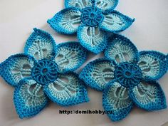 Russian site with diagram pattern for this lovely crocheted flower. Also, not in English, but great picture pattern. All chain, single, double & treble.