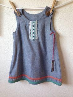 Toddler Girls Boho/Hippie/Tribal/Vintage Button Overall by Blinnea