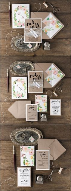 Rustic botanical lace wedding invitation kits with tag   Deer Pearl Flowers