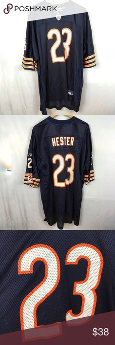 """Reebok men's 2XL Chicago Bears Hester Jersey 23 Reebok men's 2 XL short sleeve mesh Chicago Bears jersey, dark navy blue with orange and white details, 23 Hester   Measurements flat: Chest 26.5"""" Length 36"""" Reebok Shirts Tees - Short Sleeve"""