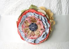 Textile Flower Brooch Scarf Pin Fabric Flower by rosyposydesigns