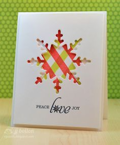 JJ Bolton {Handmade Cards}: Caring Hearts Card Drive Blog Hop.   Love the simplicity of this card.  Sentiment and Snowflake die by WPlus9.  Plaid paper is handmade using Mama Elephant Basic Broders.