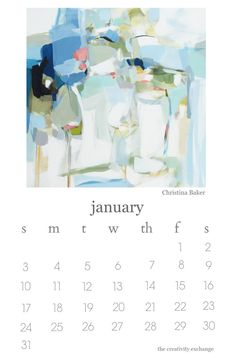 2016 Free Printable Artist Collaboration Calendar. January is Christina Baker. The Creativity Exchange