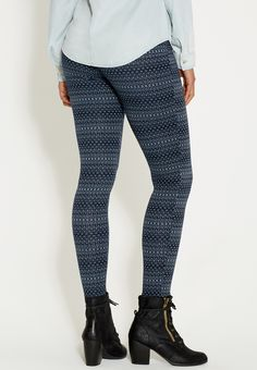 knit legging in navy blue pattern