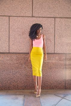 Style Pantry | Coral Tank + Yellow Pencil Skirt