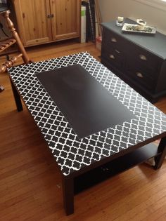 Stenciled LACK table | via IKEA Hackers