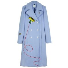 Mira Mikati Fly Away Rocket Coat (88.850 RUB) ❤ liked on Polyvore featuring outerwear, coats, double breasted coat, blue coat and blue double breasted coat