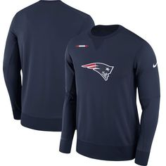 New England Patriots Nike Sideline Team Logo Performance Sweatshirt - Navy - $74.99