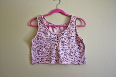 1990s Floral Crop Top // Womens 90s Pink Flower Print Bralette CROPPED Tank Top Belly Shirt Grunge // Small Medium Large