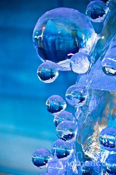 blue ice bubbles